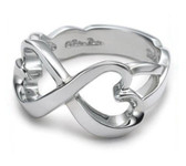 Womens Infinity Ring - (Heart Knots) Love & Commitment Ring (.925 Sterling Silver Electroplated Ring)