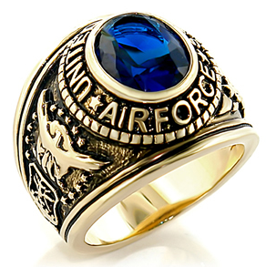 Image of Air Force - USAF Military Ring (Gold with Blue Stone) U.S.A. Veterans Soldiers, etc.