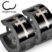 Stainless Steel - Black Gothic Medieval Cross - Wide Hoop Earrings
