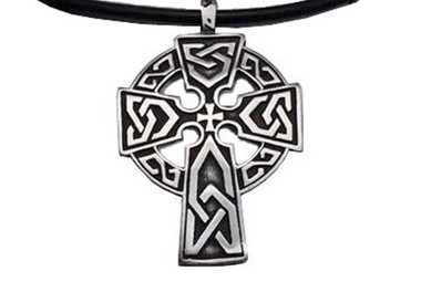 Halo Celtic Cross Pendant - Top Quality Black Pewter Pendant with PVC Rope chain included! Halo_Celtic_Cross_Pendant_PVC_rope