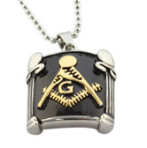 Freemason Pendant / Masonic Necklace - Black and Gold Pillar Face Mason Jewelry