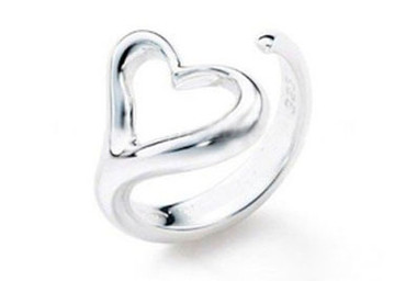 Womens Heart Ring - Adjustable - One Size Fits All (.925 Sterling Silver Electroplated Ring)