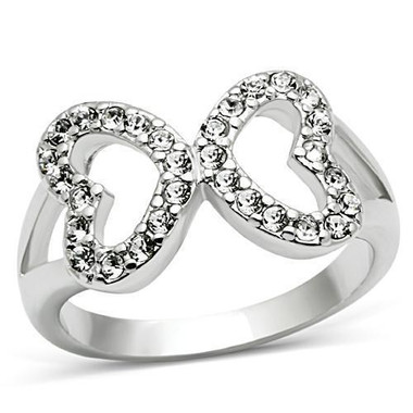 Womens Infinity Hearts Ring - Rhodium Electroplated w/ CZ Gem Filled design. Promise of Love & Commitment Ring - Silver Color