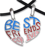 Two Piece Light Cut Out - Best Friends Forever (BFF) Set - Pink Blue Red - 2 Pewter Pendants with 2 black PVC ropes/chains included!