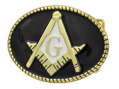 Freemason Belt Buckle / Masonic Buckle - Colorful Lasso Rope Striped Masonic Rounded
