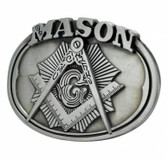 Freemason Belt Buckle / Masonic Buckle - Silver Tone Brushed Masonic Rounded