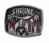 Freemason Shriners Belt Buckle / Masonic Buckle - Stainless Steel Red Shrine Design