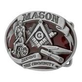 masonic buckle Serving The Community - Red Tone Freemason Belt Buckle / Masonic Buckle - Stainless Steel Brushed Masonic Rounded. Masonic Gifts.