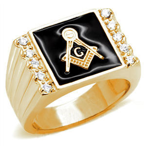 Gold Plated Steel Freemason Ring / Masonic Ring Cheap - with Black Stone for Masons