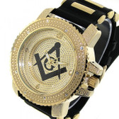 Masonic Watch - Black Silicone Band - Freemason Symbol - Black and Gold Face Dial Watches for men