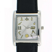 Working Tools - Masonic Watch - Black Leather Band - Square White Face Dial Watch with Artistic Freemasonry Symbolism