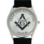 Masonic Watches - Free and Accepted Masons - Black Leather Band - White Face Dial - Freemasonry Symbolsim Watch