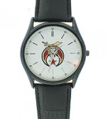 Masonic Shriner Watch for sale - Black Brim White Faced Watch with Black Leather Band - Colorful Masonic Symbol Dial Watch