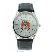 Masonic Shriners Watch - Silver Face Black Leather Band - Colorful Masonic Symbol Dial Watch
