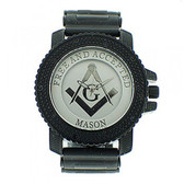 Masonic Watches for sale - Black Silicone Band - Free And Accepted Mason - White and Silver Face Dial Watch