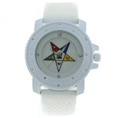 Order of the Eastern Star Watch - White Silicone Band - OES Symbol - White CZ Bling Face Dial Watch