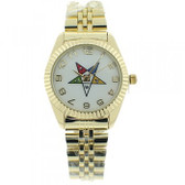Order of the Eastern Star Masons Watch - OES Symbol on Gold Color Steel Band - White Face Dial