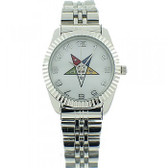 Order of the Eastern Star Watches ladies - OES Symbol on Silver Color Steel Band - White Face Dial