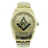 Masonic Watches on sale - Free and Accepted Masons - Gold Color Steel Band - Full Gold Face Dial Freemason Symbol Watch