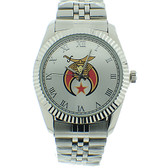 Shriner Watch - Freemason's Symbol on Silver Color Steel Band - Full Silver Face Dial