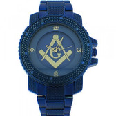 Masonic Watches for sale - Blue Metal Band - Free Masons Numerical Blue Face Gold Tone Dial Watch