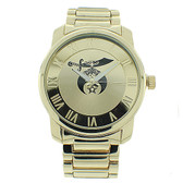 Shriners Watches - Masonic Symbol on Full Gold Color Steel Band and Face - For Freemasons