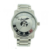 Shrine Watch - Masonic Symbol on Full Silver Color Steel Band and Face - For Shriners