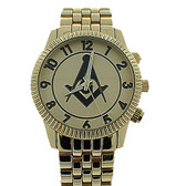 Freemasons Watch - Masonic Symbol on Gold Color Steel Band - Full Gold Face Dial - Watches for Free Masons