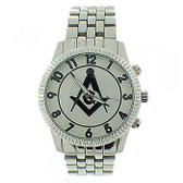 Freemasons Watch - Masonic Symbol on Silver Color Steel Band - Full Silver Face Dial - Watch for Free Masons