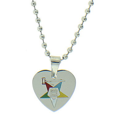 Order of the Eastern Star Heart Shaped Pendant - Silver Color Steel with OES Symbol Necklace OES_Pendant_Silver_Heart_Lux
