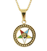 Order of the Eastern Star Necklace Pendant - Gold Color Steel with OES Symbol