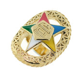 Order of the Eastern Star Ring - Gold Color Steel Webbed Band with OES Symbol. Masonic Jewelry. O.E.S. Rings