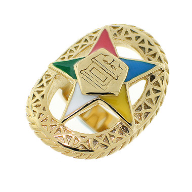 Order of the Eastern Star Ring - Gold Color Steel Webbed Band with OES Symbol. Masonic Jewelry.