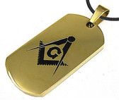 Gold Color Masonic Dog Tag Smooth Square & Compass Steel Dog Tag Pendant & PVC Chain Necklace