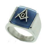 Blue Lodge - Freemasons Square and Compass Ring - Steel Masonic Emblem with Blue Background