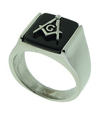 Freemasons Square and Compass Ring - Steel Masonic Emblem with Black Background