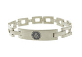 Freemason Bracelet Silver Color Stainless Steel - Square Link Bracelet with Classic Masonic Symbol
