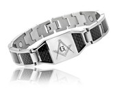 Masonic Bracelet - Stainless Steel w/ Black Carbon Fiber Freemason Link Bracelet with Classic Masonic Symbol