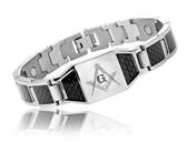 Masonic Bracelet - Stainless Steel w/ Black Carbon Fiber Freemason Link Bracelet with Classic Masonic Symbol