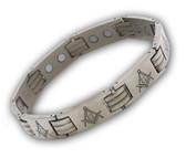 Masonic Bracelet - Stainless Steel (Silver tone) Across Design. Freemason Link Bracelet with Classic Masonic Symbol