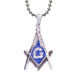 Steel Blue Color Stainless Steel Blissful Pendant Masonic Symbol / Free Mason Blue Lodge