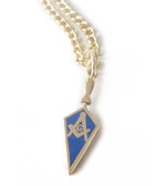 Masonic Pendant - Mason Blue Trowel Necklace For Freemasons Steel with gold color plating and blue enamel
