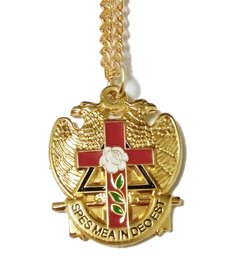 Scottish Rite Pendant With Chain Gold Tone With Color Enamel