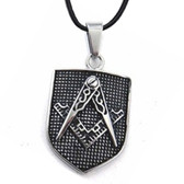 Masonic Pendant - Silver Tone Stainless Steel Mason Shield on Steel Dimpled Bakground - For Freemasons