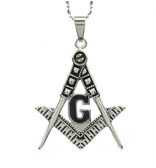 Freemason Pendant - Stainless Steel with BLACK Colored Center Masonic Symbol