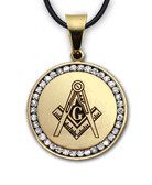 White 14K White Gold Finish Plated Stainless Steel Masonic Freemason Pendant Medal Charm with CZ Rim and Square and Compass includes PVC Chain Necklace