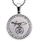 Shriners Imitation Rhodium Plated Finish Stainless Steel Masonic Freemason Pendant Medal Charm with CZ Rim Includes Chain Necklace