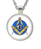 Masonic Glass Necklace Pendant with Masonic Symbol on Blue Seal  / Free Mason.