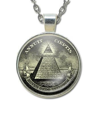 Masonic Glass Necklace Pendant with Masonic Symbol found on U.S. Dollars / Free Mason