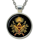 Masonic Glass Necklace Pendant with Various Masonic Symbolism for Free Masons